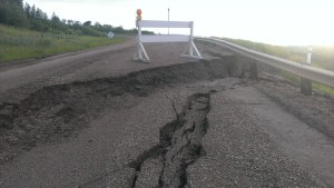 A section of Highway 861, less than one kilometre south of the Battle River Bridge, collapsed after heavy sownfall in the winter and heavy rain in the spring saturated the base causing it to deteriorate.