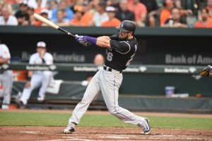BALTIMORE, MD - JULY 25: David Dahl #26 of the Colorado Rockies takes a swing in his first major league at bat in his debut during a baseball game against the Baltimore Orioles at Oriole Park at Camden Yards on July 25, 2016 in Baltimore, Maryland. (Photo by Mitchell Layton/Getty Images)