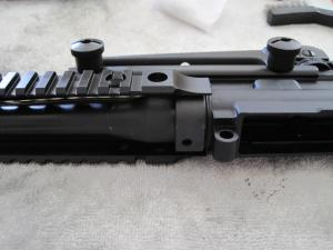 Install the DD upper rail on barrel nut, using carry handle to align properly
