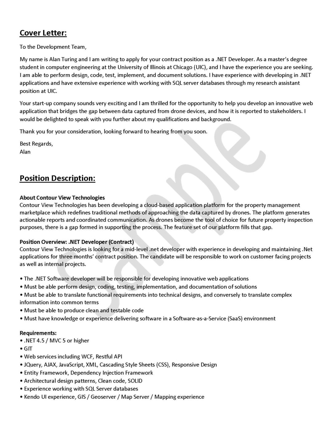 Cover Letter Engineering Career Center University Of Illinois At Chicago