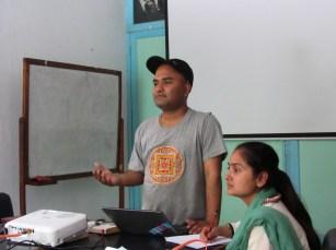 Program officer Rabindra Khatri speaks about menstrual hygiene education