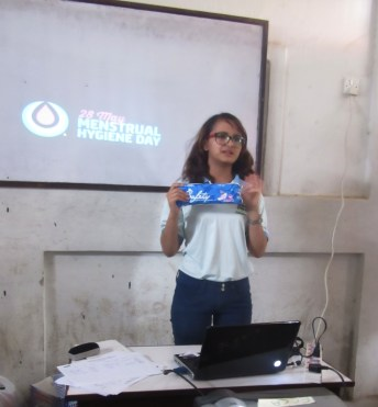 ECCA counselor Aruna explains about the healthy use of pads