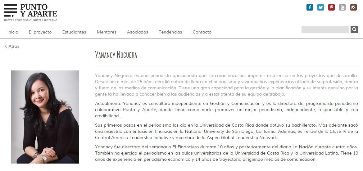 Además de idear y dirigir el proyecto Punto y Aparte en el IPLEX. Yanancy Noguera es la Coordinadora de la Concentración en Periodismo de la ECCC UCR. Foto: http://www.puntoyaparte.co.cr/