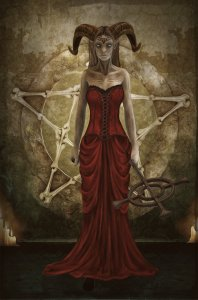 Demon woman in red dress