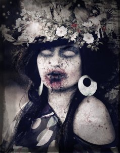 Picture of woman zombie in flowery hat