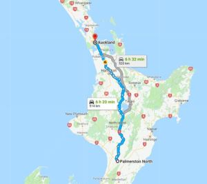 palmerston to auckland