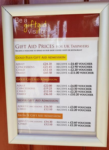 Arundel Castle Price List