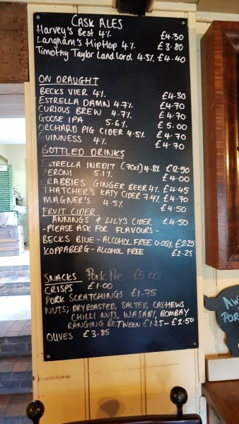 Drinks list The Duke of Cumberland Arms in Henley