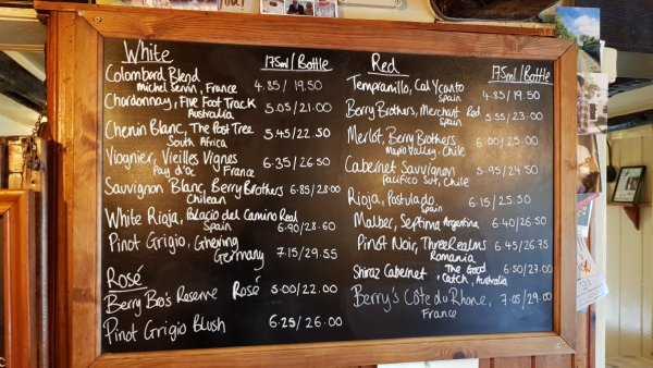 Wine list The Duke of Cumberland Arms in Henley