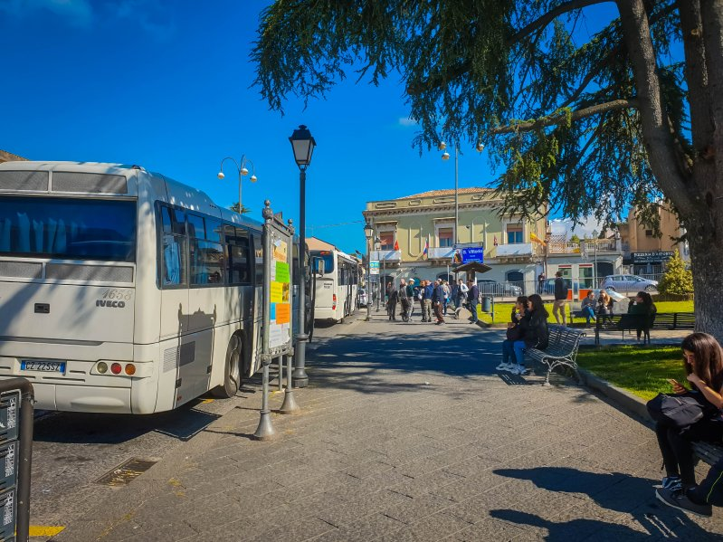 stop at nicolosi - bus from Catania to Etna