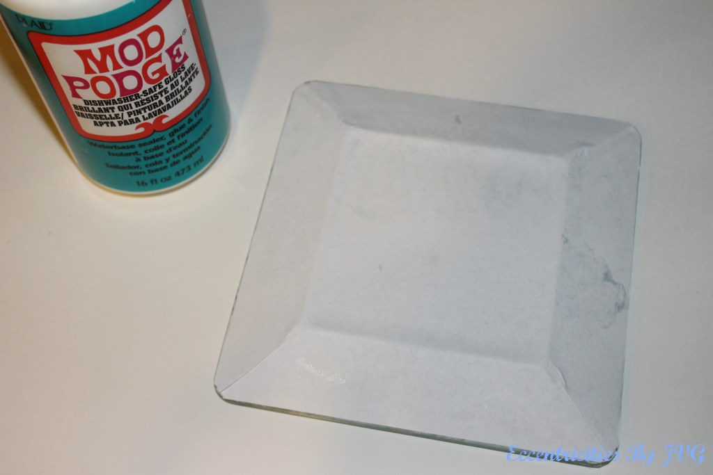 apply the paper front facing the plate for reverse decoupage glass plates