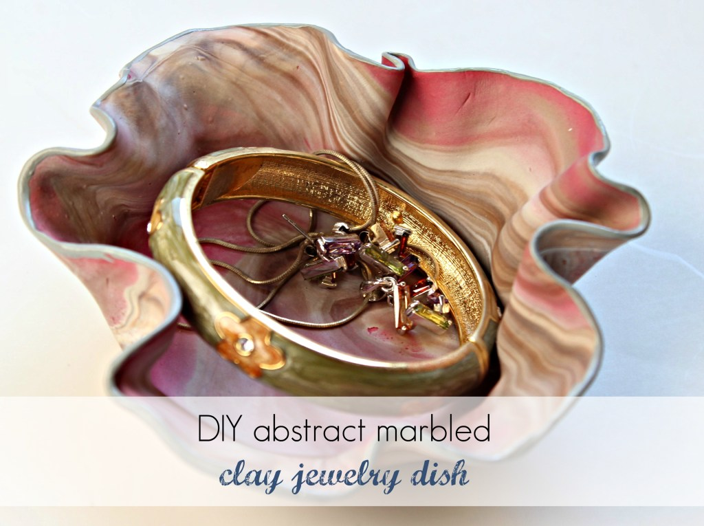 DIY abstract marbled clay jewelry dish