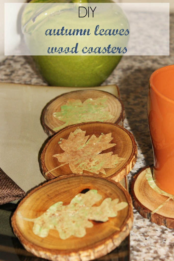 Autumn leaves wood coasters