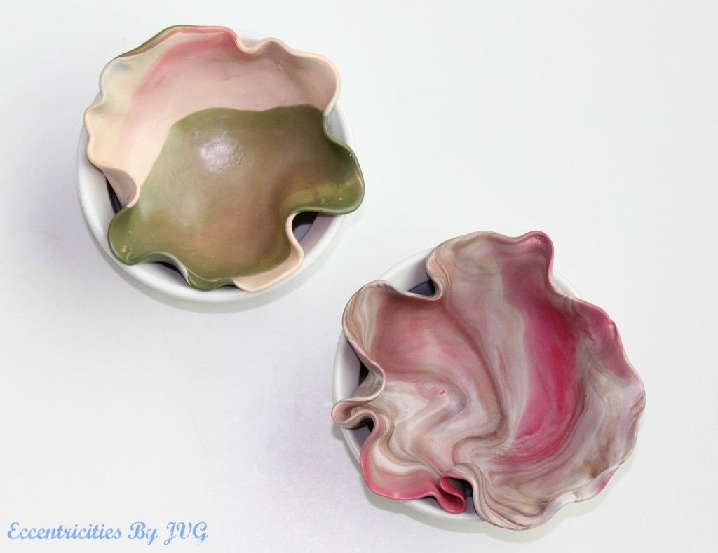 marbled clay jewelry dishes place in ramekin to oven dry