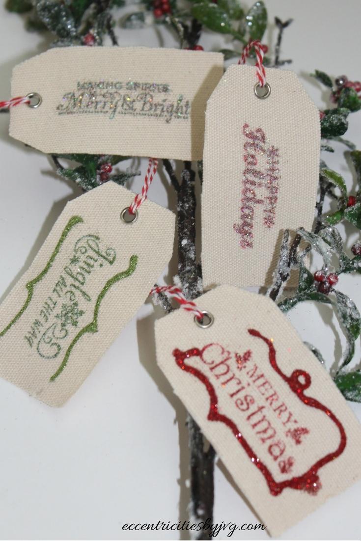 DIY glittery Christmas gift tags