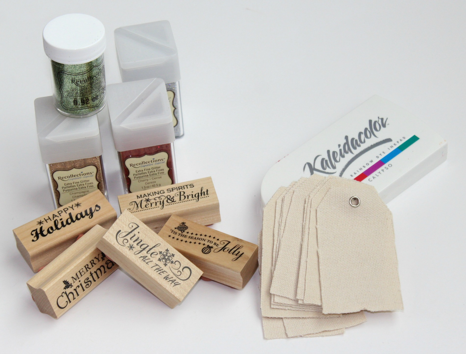 DIY glittery Christmas gift tags - materials