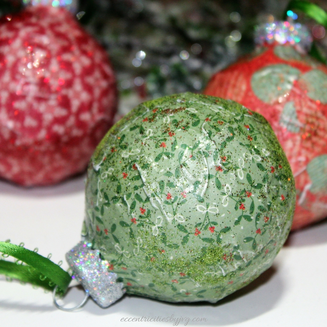 DIY decoupaged Christmas ornaments