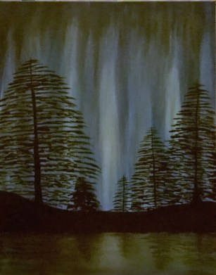 Aurora Through the Pines
