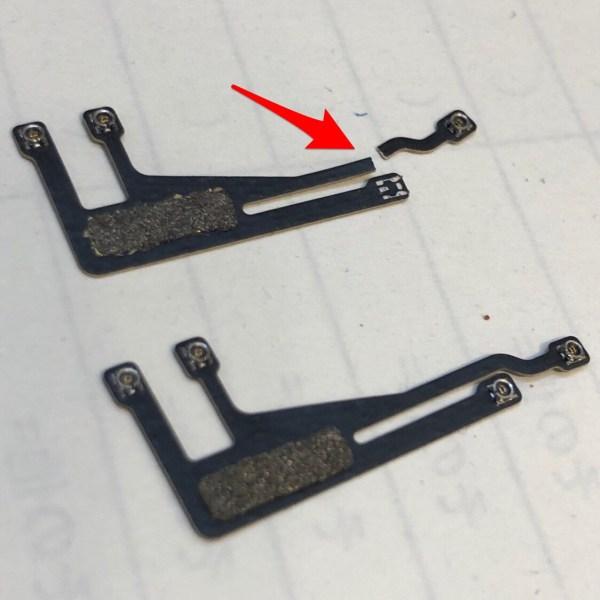 ケーブル破断と、接続部の剥がれ。下は正常部品