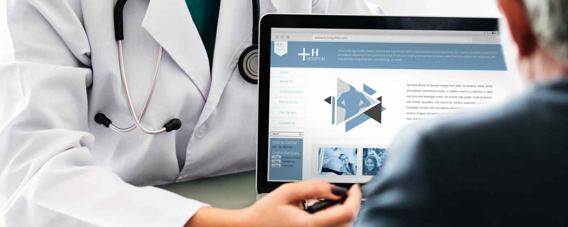 doctor explains treatment options on a laptop