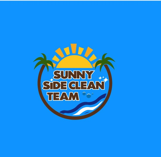 Sunny Side Clean Team logo on blue background