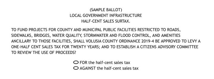 half cent sales tax increase sample ballot