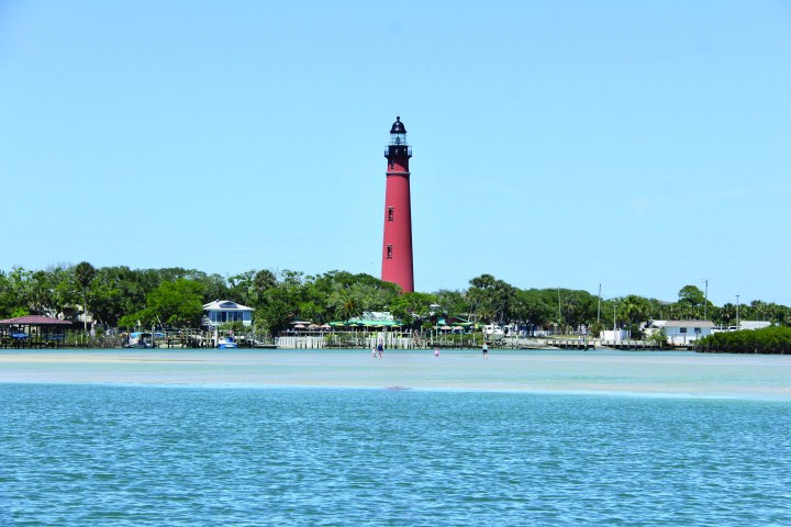 Ponce Inlet lighthouse from inlet water view