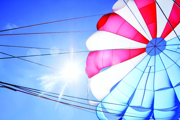 parasail with sun behind it