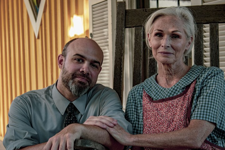 Carrie Watts, played by Ellen Shaw enjoys a tender moment with her son Ludie, played by Brandon King before secretly leaving on a trip to her beloved hometown of Bountiful, Texas.