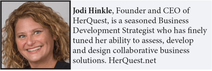 Jodi Hinkle, Founder and CEO of HerQuest, is a seasoned Business Development Strategist who has finely tuned her ability to assess, develop and design collaborative business solutions. HerQuest.net