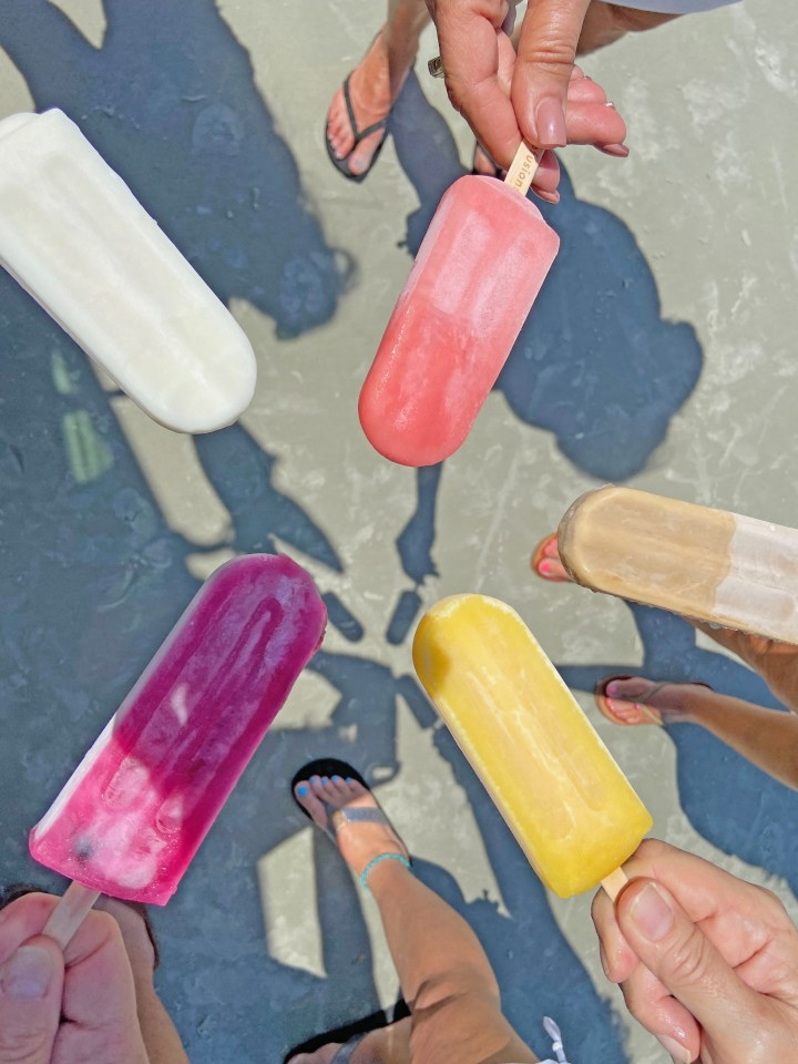 Ice Queen Truck popsicles in a circle on the beach