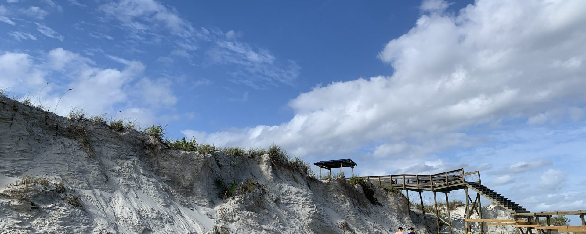 Volusia County florida beach erosion of sand dunes and walkways