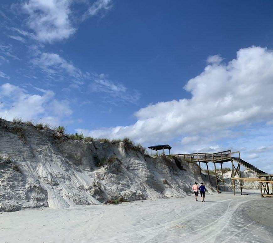 Volusia County florida beach erosion of sand dunes and walkways