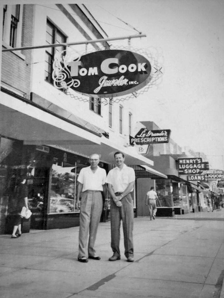 TOM COOK, SR. AND TOM COOK, JR. ON BEACH STREET CIRCA 1947