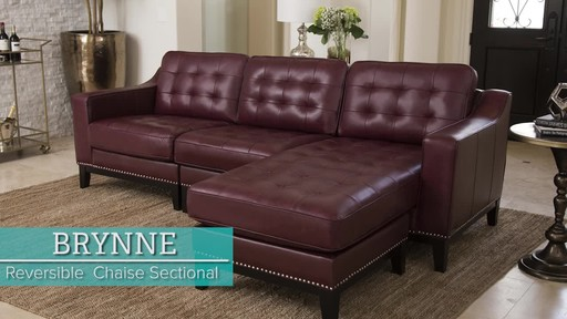 hayden sectional sofa with reversible chaise velvet chesterfield brynne top grain leather video gallery