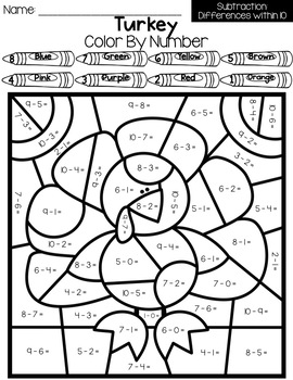 NO PREP Thanksgiving Math Worksheets for 2nd Grade by Just