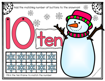 SNOWMAN Math Number / Playdough Mats 1-10 ~ Kindergarten