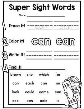 {CUTE} 126 sight word practice worksheet pages! by Days