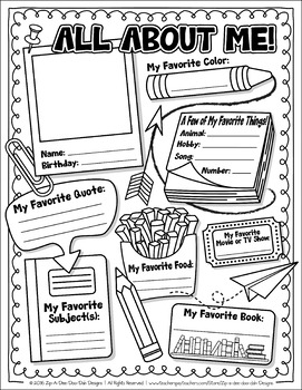 {FREE} All About Me Activity Worksheet by Zip-A-Dee-Doo