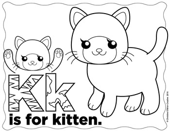 * FREE * K is for Kitten Coloring Page and Mini Clip Art
