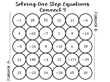 **FREE** One Step Equations Connect 4 Game by Fun with
