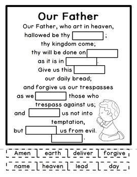 The Lord's Prayer Activity Sheets Pdf : lord's, prayer, activity, sheets, FREE!}, Father, Lord's, Prayer, Printable, Paste, Activity
