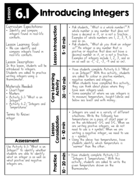 {Grade 7} Unit 6: Integers Activity Packet by