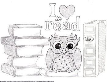 I Love To Read Owl And Books Coloring Page And Bookmarks Tpt