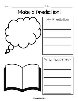 |Kindergarten 1st Grade| Prediction Graphic Organizer for