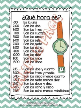¿Qué hora es? Spanish Time worksheets & flashcards by