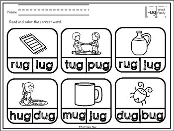 -Ug Word Family Printable Worksheets by The Primary Place