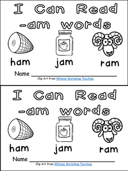 -am Word Family Emergent Reader Kindergarten with Pocket