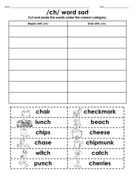 beach chair sale toddler saucer /ch/ digraph cut & paste word sort freebie by myacestraw | tpt