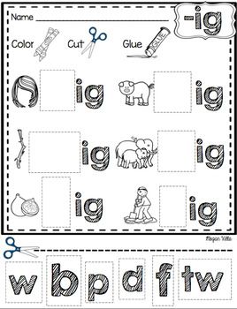 - ig Word Family and Rhyming Activities—{No Prep!} by